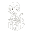 Cute Christmas elf sitting on gift vector image