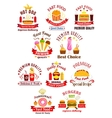 Fast food emblems with ribbons vector image