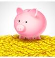 Piggy Bank on heap of gold coin vector image