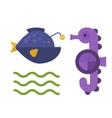 Sea horse and maline life animal vector image