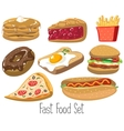 Set of cartoon fast food vector image