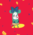 Funny little teal mouse with cheese vector image