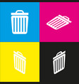 trash sign   white icon with vector image