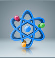 3d atom icon with color circle vector image