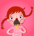 Cute girl eating icecream vector image