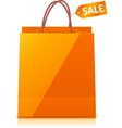 Orange shopping bag isolated on white background vector image