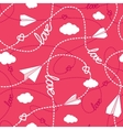 Hearts Clouds Paper Planes Love Seamless Pattern vector image