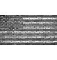 Black and white USA flag on a brick wall vector image