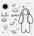 line hand drawn doodle space background set vector image