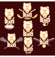 set of bear sports labels vector image