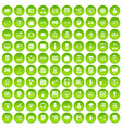 100 it business icons set green circle vector image