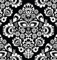 Polish folk art white seamless pattern on black vector image vector image