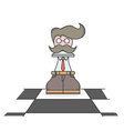 Isolated cartoon the busy executive chess pawn vector image