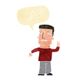 cartoon man giving peace sign with speech bubble vector image