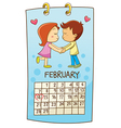 set cartoon calendar for Valentines Day vector image vector image