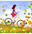 autumn girl bike vector image
