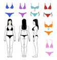 girl and swimsuits outlined set vector image
