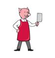 Pig butcher holding meat cleaver knife vector image