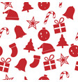 red christmas ornament seamless pattern vector image