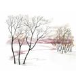 Watercolor winter landscape vector image