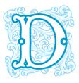 winter vintage letter D vector image