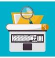Spreadsheet laptop file lupe design vector image