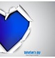 Torn paper with space for text Blue heart vector image vector image