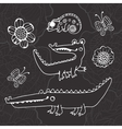 Cute collection of hand draw crocodiles vector