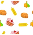 Sweet pastries pattern cartoon style vector image