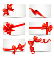 Set of beautiful gift cards with red gift bows vector image