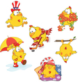 Set of cute chickens for your design Cartoon vector image