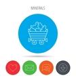 Minerals icon Wheelbarrow with jewel gemstones vector image