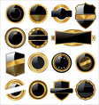 set of empty black and gold labels vector image