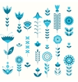 blue flower set pattern vector image