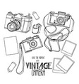 collection of vintage hand drawn cameras vector image