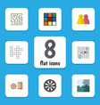 flat icon entertainment set of lottery jigsaw vector image