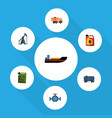 flat icon oil set of boat rig container and vector image