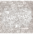 Merry Christmas hand lettering and doodles vector image
