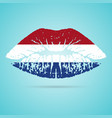 netherlands flag lipstick on the lips isolated on vector image