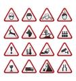 triangular warning hazard signs set vector image