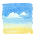 Watercolor blue sky and clouds background vector image