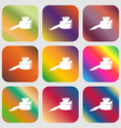 pen and ink icon Nine buttons with bright vector image