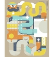 Abstract retro man with paper document vector image