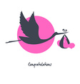 Stork with baby image vector image