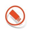 USB stick sign sticker orange vector image