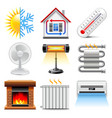 Heating and cooling icons set vector image