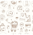 Seamless Pattern with Shopping hand drawn vector image