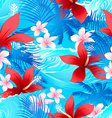 Tropical red hibiscus flowers with surfing wave vector image