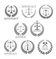 Lawyer office and law firm design templates vector image