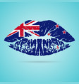 new zealand flag lipstick on the lips isolated on vector image
